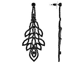 Black Crystal, Jet Black Tone Leaf Design Dangle Earrings