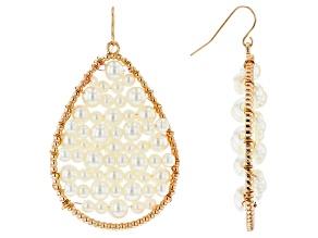 White Freshwater Pearl Simulant Gold Tone Dangle Earrings