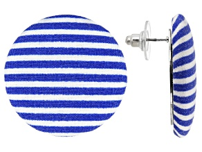 Blue And White Nautical Stripe Fabric Silver Tone Stud Earrings