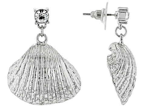 White Crystal Silver Tone Seashell Earrings