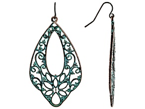 Patina Floral And Filigree Cut Out Dangle Earrings