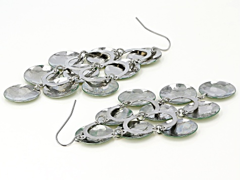 Green And Silver Tone Chandelier Earrings