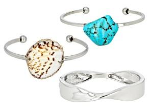 Shell Simulant Silver Tone Bracelet Set
