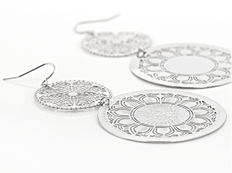 Silver Tone Floral Lace Design Dangle Earrings