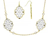 White Crystal Two-Tone Necklace And Earrings Set