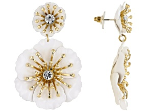 White Acrylic Gold Tone Flower Drop Earrings