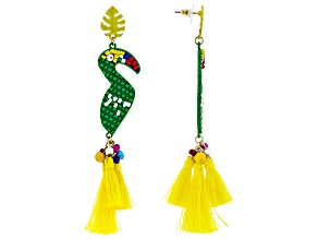 Multicolor Bead Gold Tone Macaw Earrings