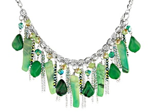 Green Bead Silver Tone Necklace