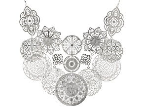 Silver Tone Floral Lace Design Bib Necklace