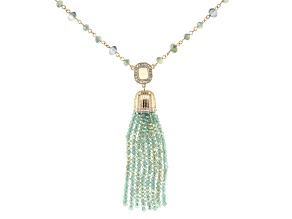 Mint Green Bead Gold Tone Tassel Necklace