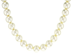 White Pearl Simulant Gold Tone Necklace