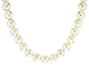 White Pearl Simulant Gold Tone Necklace