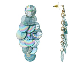 Blue Disc Gold Tone Dangle Earrings