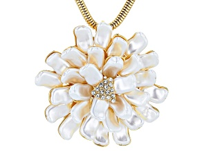White Freshwater Pearl Simulant Gold Tone Starburst Necklace
