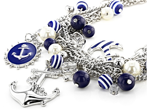 Blue And White Acrylic Bead Silver Tone Nautical Charm Necklace