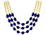 Blue Bead Gold Tone Nautical Necklace