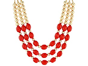 Red Bead Gold Tone Nautical Necklace