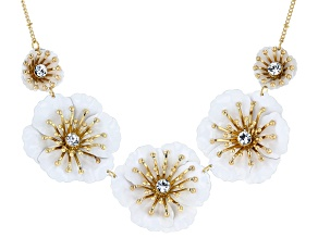 White Acrylic Gold Tone Flower Necklace