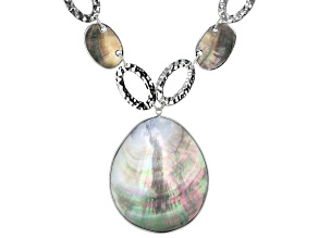 Multicolor Mother Of Pearl Simulant Silver Tone Necklace