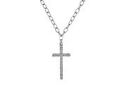 White Crystal Silver Tone Cross Multi-Row Necklace