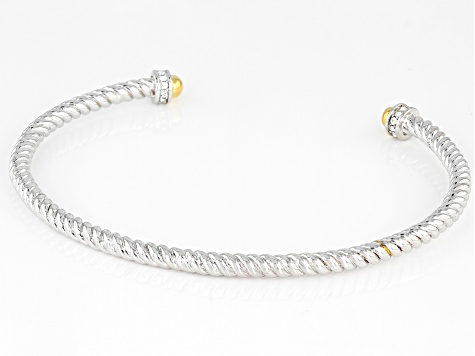 White Crystal Rhodium And 18k Gold Over Brass Two Tone Bracelet