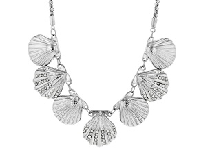 White Crystal Silver Tone Seashell Necklace