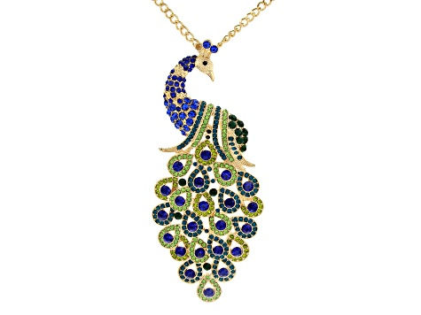 Multi-color Crystal Gold Tone Peacock Necklace
