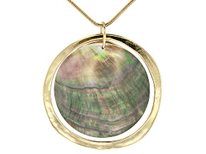 Abalone Shell Simulant Gold Tone Necklace