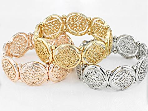 Rose Tone, Gold Tone, And Silver Tone Stretch Bracelet Set Of Three