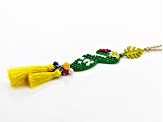 Multicolor Bead Gold Tone Macaw Necklace