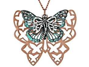 Patina And Rose Tone Butterfly And Dragonfly Necklace