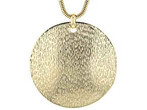 Gold Tone Hammered  Medallion Pendant With 35