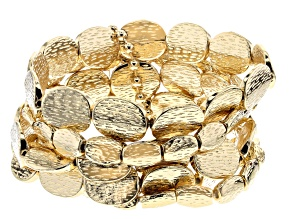 Gold Tone Hammered Stretch Bracelet Set Of Five