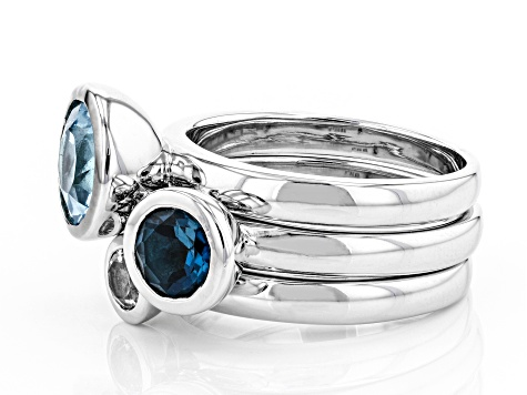 London Blue, Glacier™, And White Topaz Rhodium Over Brass Ring Set Of Three 3.02CTW