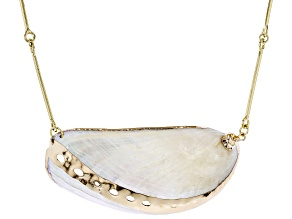 Shell Gold Tone Link Necklace