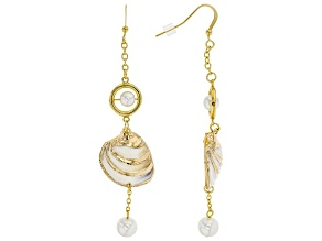 Shell And Pearl Simulant Gold Tone Drop Earrings