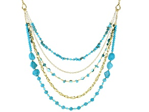 Turquoise Simulant And Blue Crystal Gold Tone Multi-Row Necklace