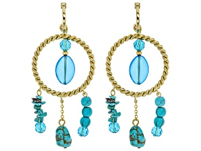 Turquoise Simulant And Blue Bead Gold Tone Statement Earrings