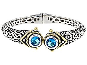 Blue Crystal Two Tone Hinged Bangle Bracelet