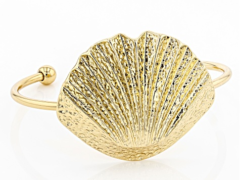 Hammered Gold Tone Seashell Cuff Bracelet