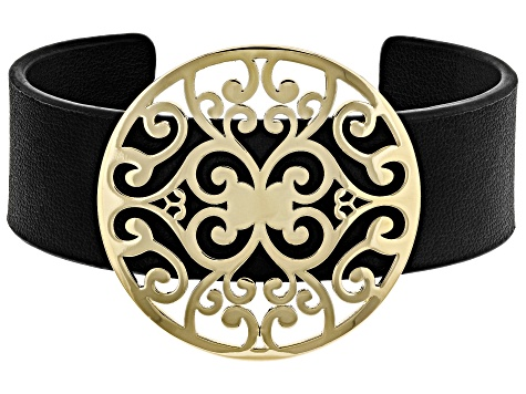 Gold Tone And Imitation Leather Filigree Cuff Bracelet