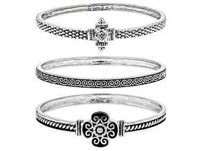 White Crystal Oxidized Silver Tone Quatrefoil Bracelet Set Of Three