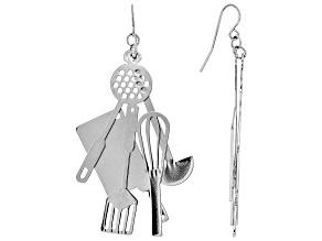 Silver Tone Kitchen Utensil Dangle Earrings