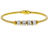White Crystal Gold Tone Spinner Bangle Bracelet