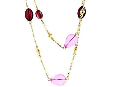 Purple And Burgundy Bead Gold Tone Double Strand Station Necklace
