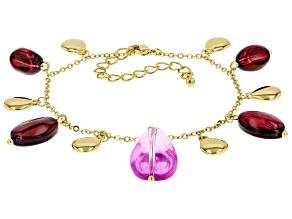 Purple And Burgundy Bead Gold Tone Bracelet