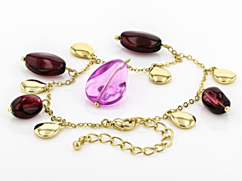 Purple And Burgundy Bead Gold Tone Bracelet