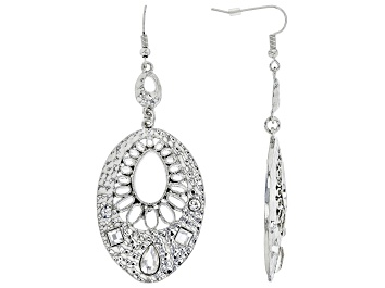 Picture of White Crystal Silver Tone Hammered Dangle Earrings