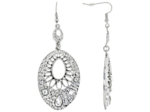 White Crystal Silver Tone Hammered Dangle Earrings
