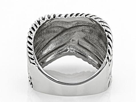 Oxidized Silver Tone Crossover Ring